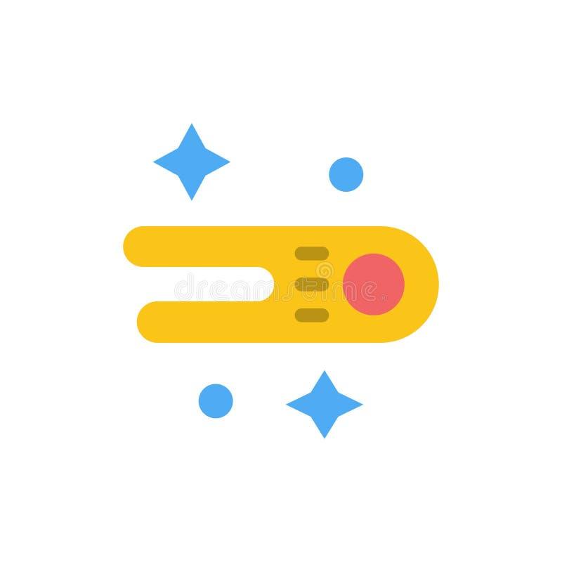 Astronomie, comète, icône plate de couleur de l'espace Calibre de bannière d'icône de vecteur illustration libre de droits