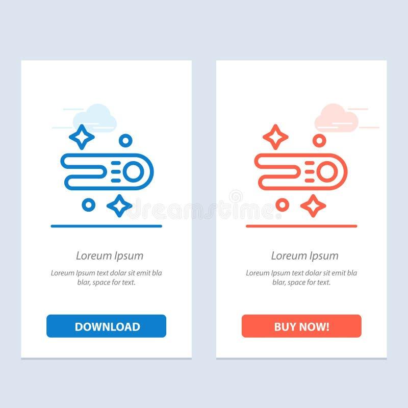 Astronomie, Komet, Raum-Blau und rotes Download und Netz Widget-Karten-Schablone jetzt kaufen vektor abbildung