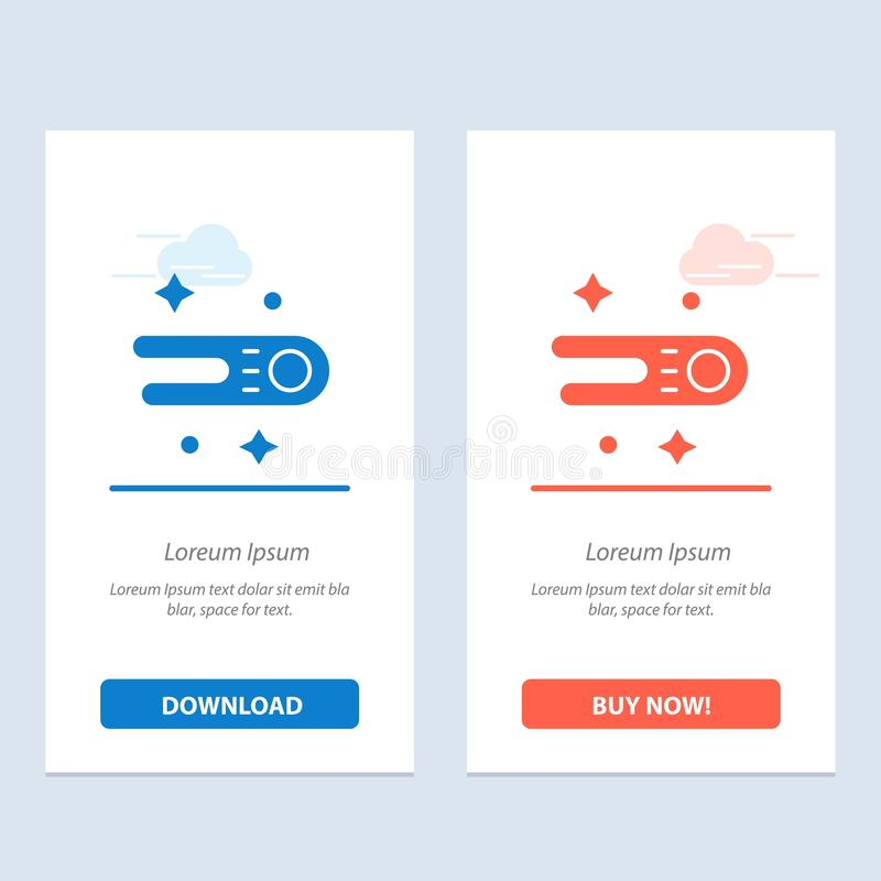 Astronomie, Komet, Raum-Blau und rotes Download und Netz Widget-Karten-Schablone jetzt kaufen lizenzfreie abbildung
