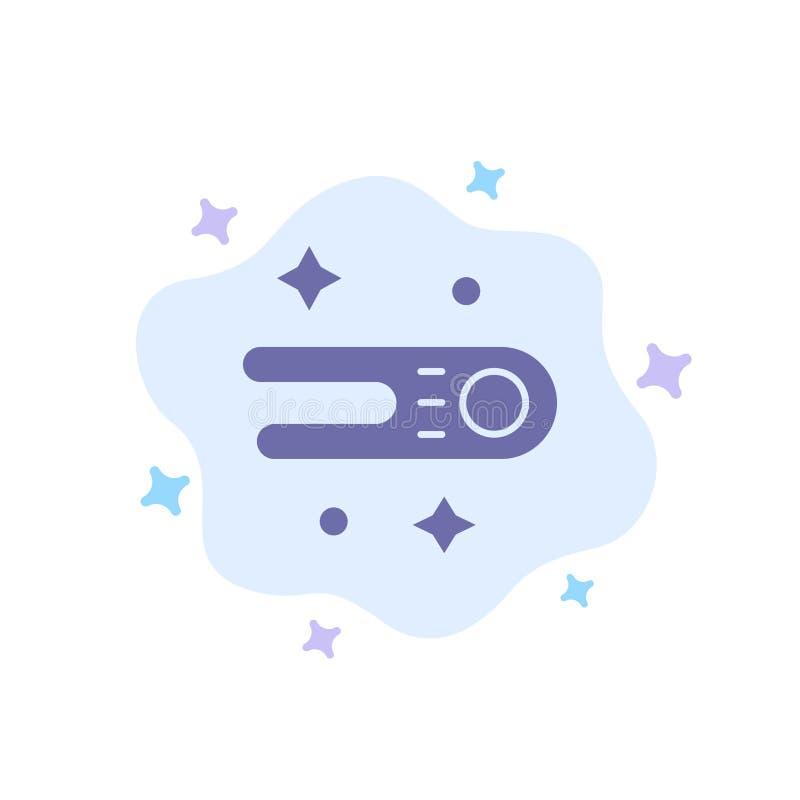 Astronomie, Komet, Raum-blaue Ikone auf abstraktem Wolken-Hintergrund lizenzfreie abbildung
