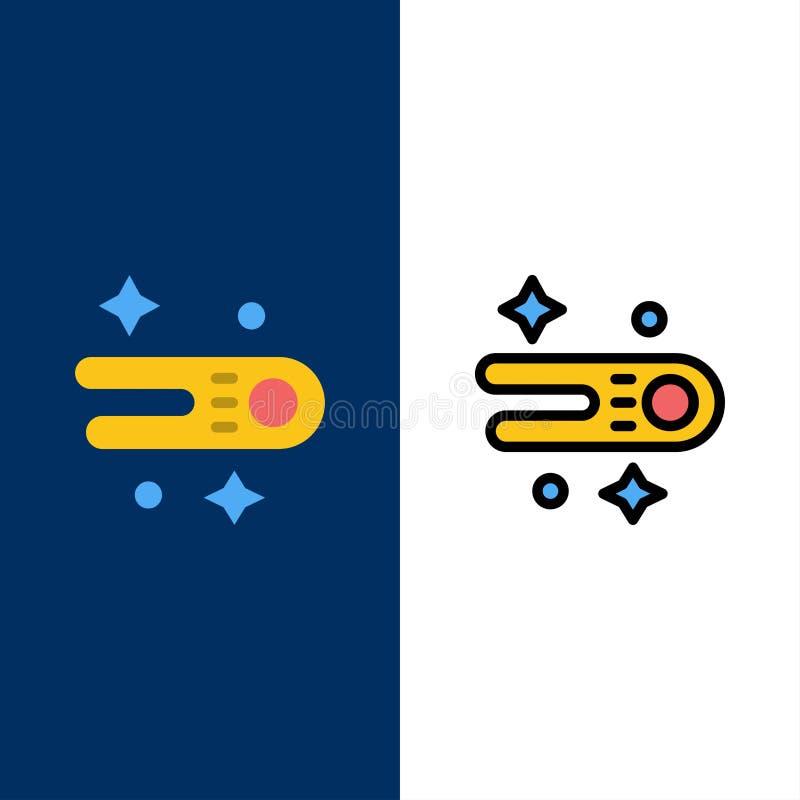 Astronomie, Komet, Raum-Ikonen Ebene und Linie gefüllte Ikone stellten Vektor-blauen Hintergrund ein lizenzfreie abbildung