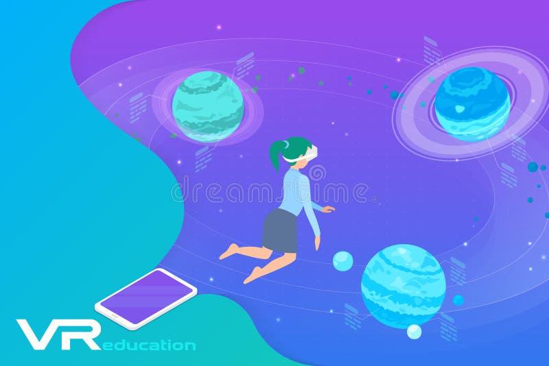 Astronomie Leren in virtuele realiteit isometrische platte vectorillustratie Meisje in VR-bril bij Planeten in virtuele ruimte stock illustratie