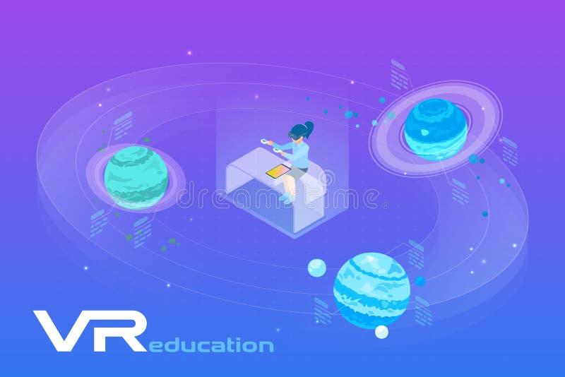 Astronomie Leren in virtuele realiteit isometrische platte vectorillustratie Meisje in VR-bril in de buurt van de Planeten in een stock illustratie
