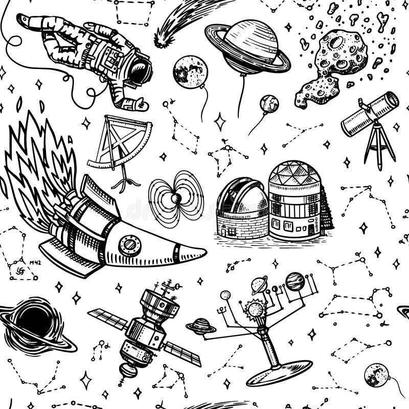 Astronomie Naadloos patroon in uitstekende stijl Ruimte en kosmonaut, maan en spaceships, meteoriet en sterren, planeten en stock illustratie