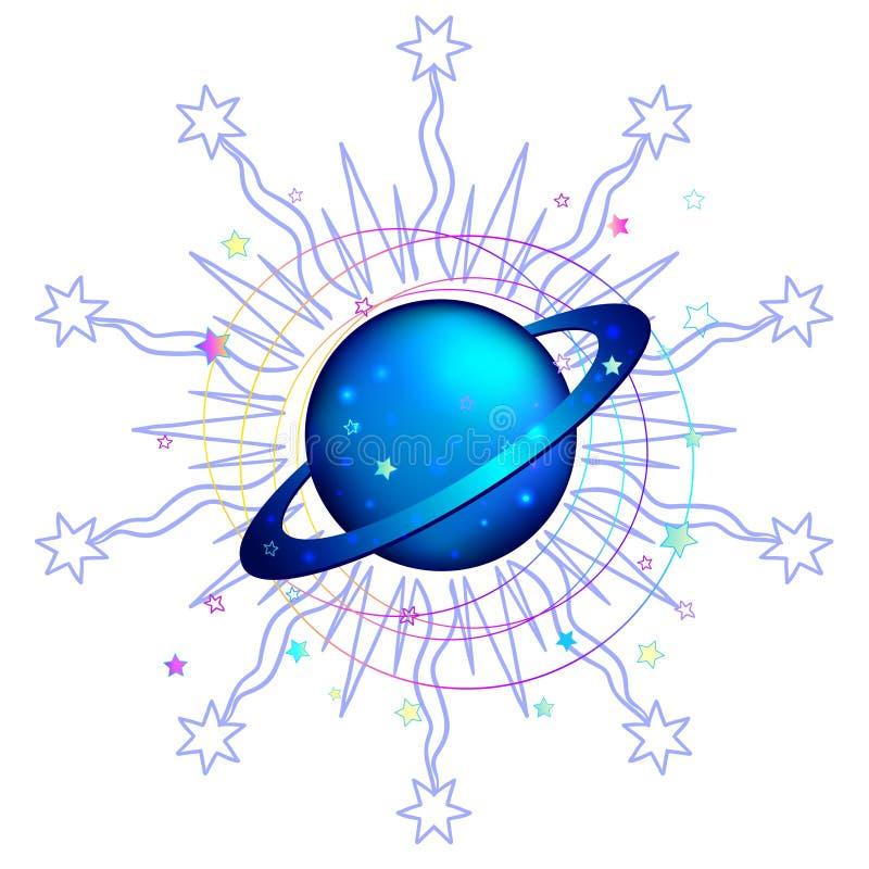 Astronomie : Planète de Saturn Art coloré tiré par la main Style de Kawaii illustration de vecteur