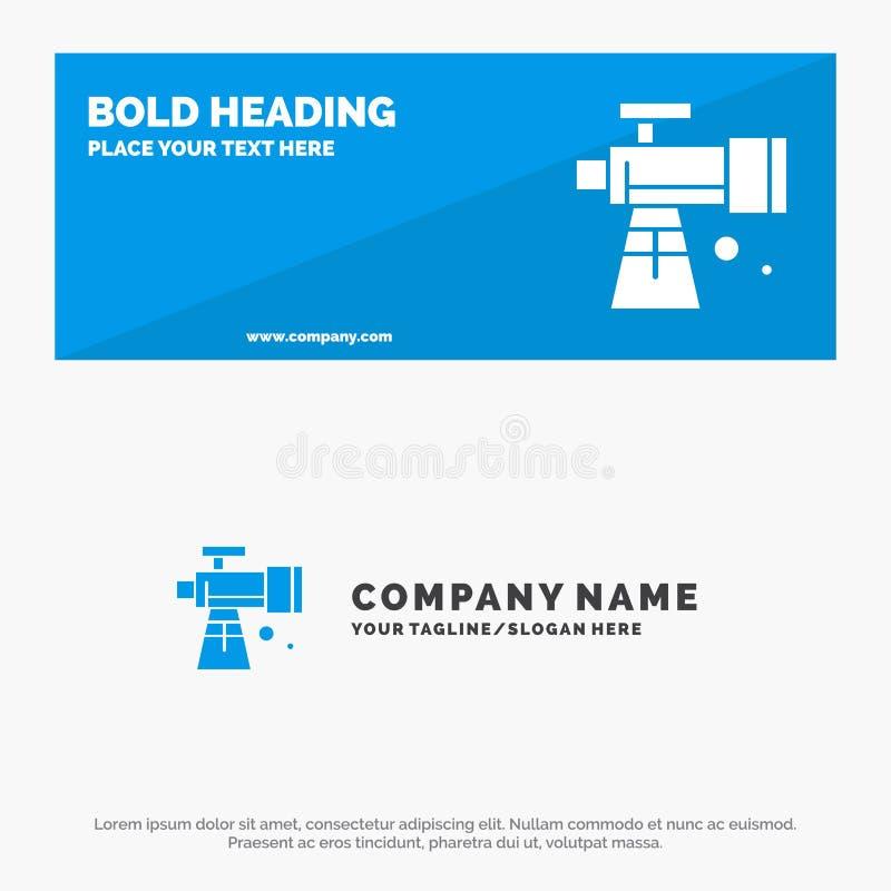 Astronomie, portée, espace, bannière solide et affaires Logo Template de site Web d'icône de télescope illustration libre de droits