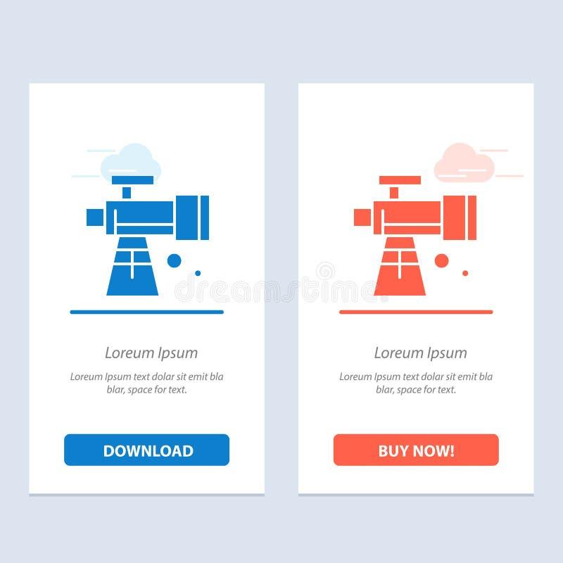 Astronomie, portée, espace, bleu de télescope et téléchargement rouge et acheter maintenant le calibre de carte de gadget de Web illustration stock