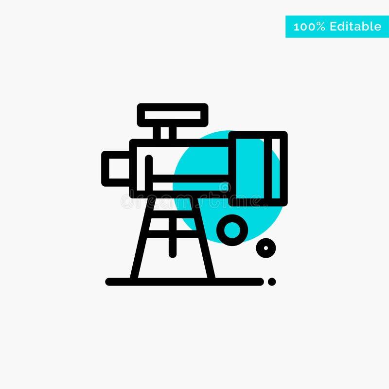 Astronomie, portée, l'espace, icône de vecteur de point de cercle de point culminant de turquoise de télescope illustration de vecteur
