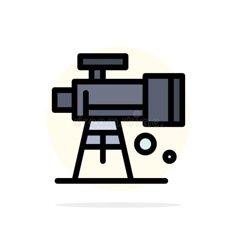 Astronomie, portée, l'espace, icône plate de couleur de fond de cercle d'abrégé sur télescope illustration libre de droits