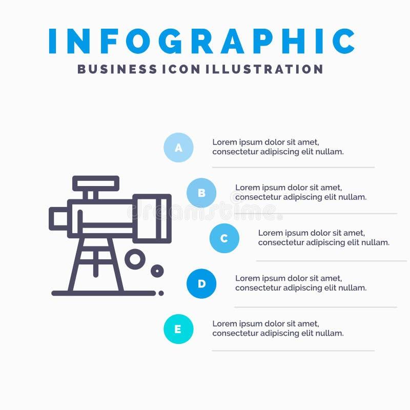 Astronomie, portée, l'espace, ligne icône de télescope avec le fond d'infographics de présentation de 5 étapes illustration de vecteur