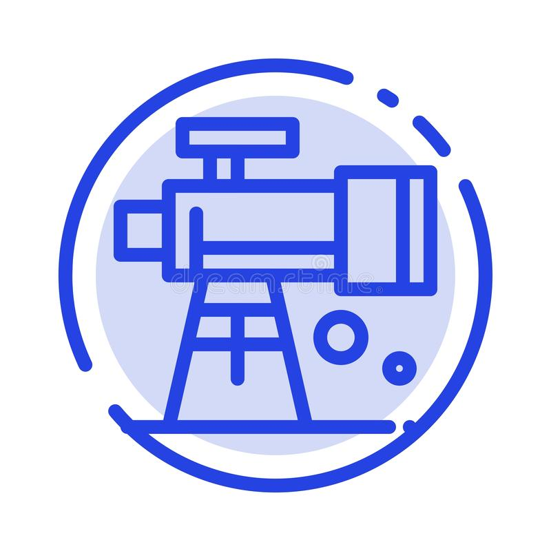 Astronomie, portée, l'espace, ligne pointillée bleue ligne icône de télescope illustration de vecteur