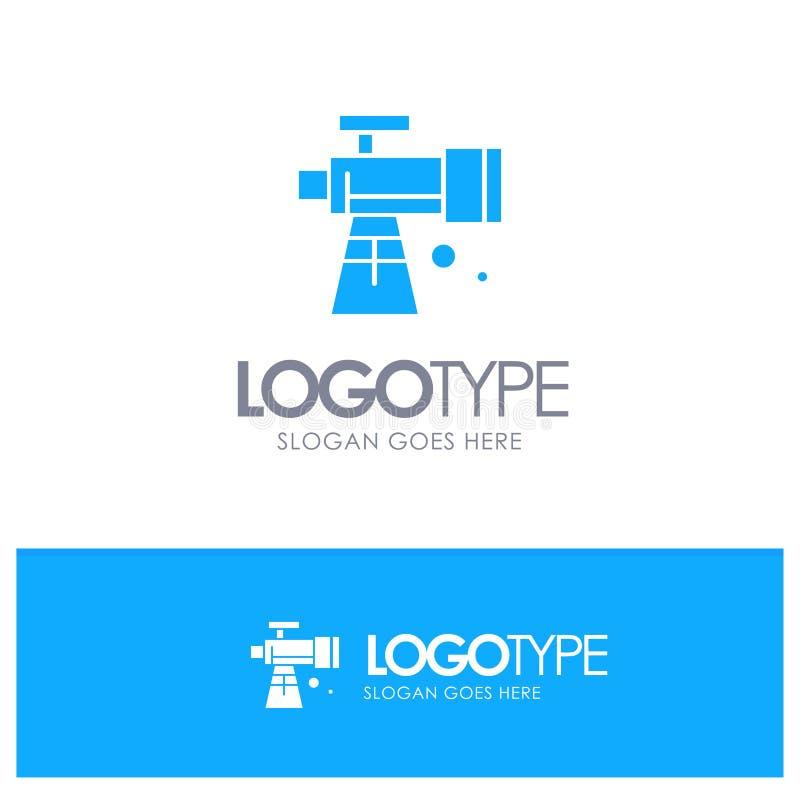 Astronomie, portée, l'espace, logo solide bleu de télescope avec l'endroit pour le tagline illustration stock