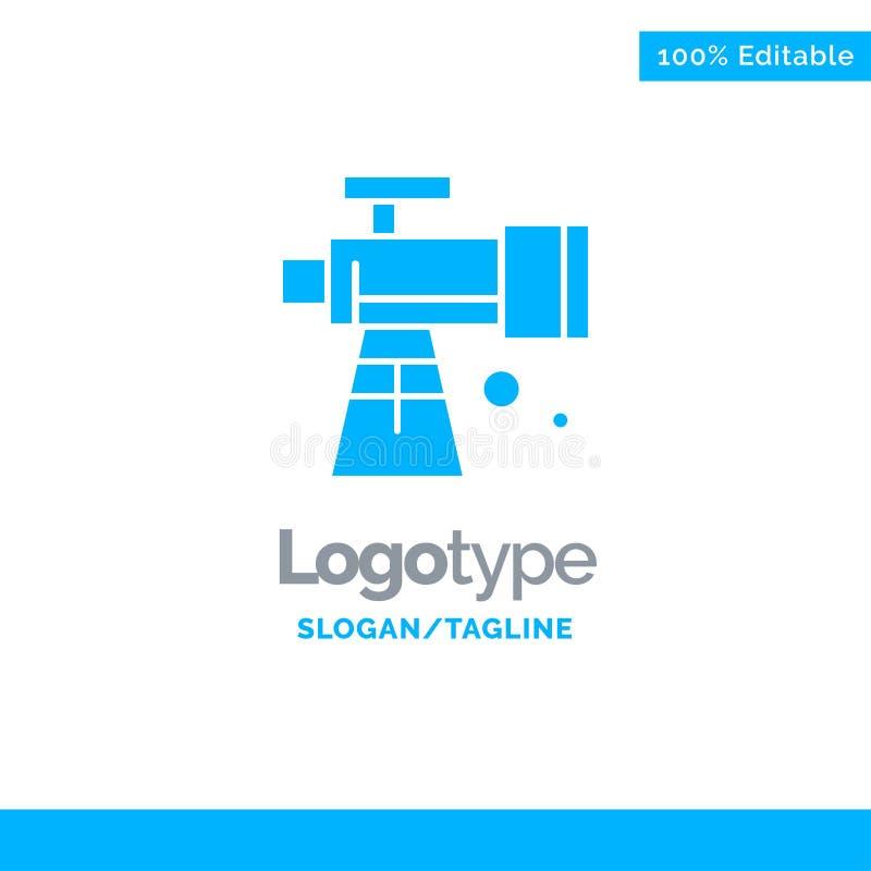 Astronomie, portée, l'espace, télescope Logo Template solide bleu Endroit pour le Tagline illustration stock