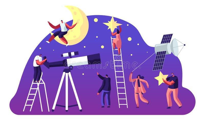 Astronomie-Wissenschaft, männlich-weibliche Charaktere, die auf Mond aufpassen und Sterne am Teleskop, Raum studierend, Kosmos-Er stock abbildung