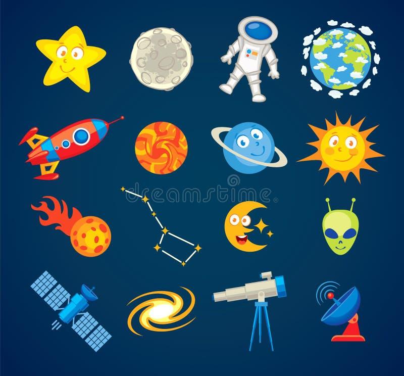 In astronomiepictogrammen Grappig beeldverhaalkarakter vector illustratie