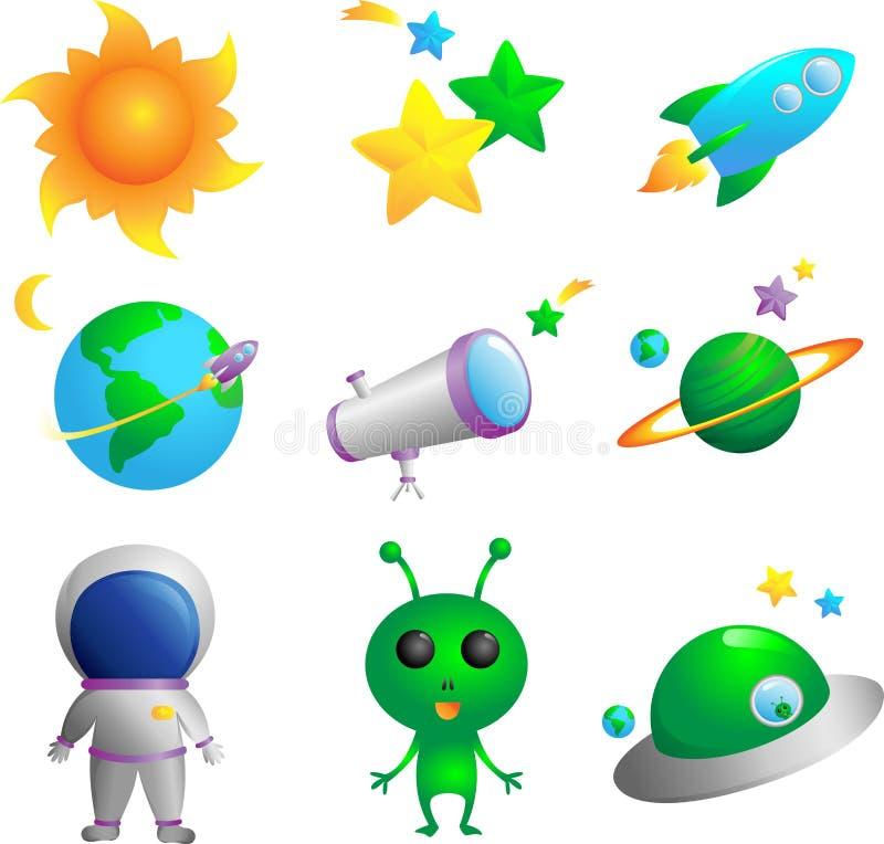 astronomii ikony ilustracji