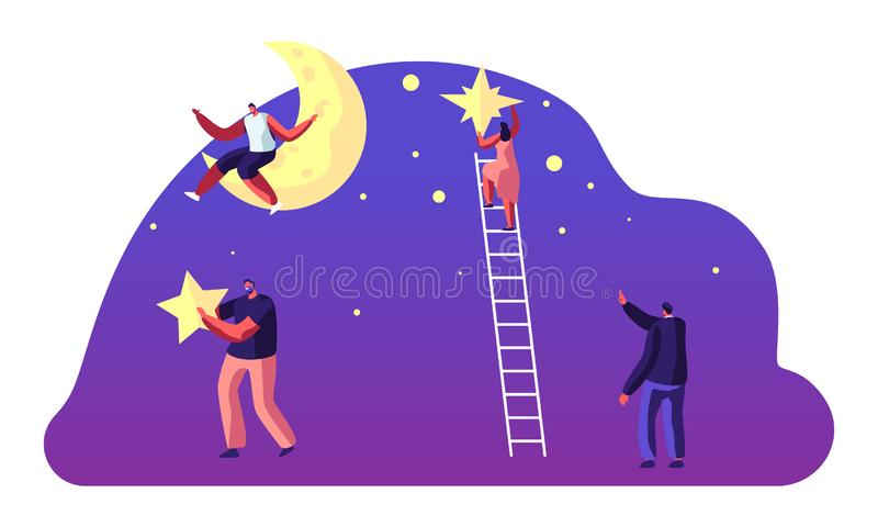 Astronomii nauka, mężczyzny obsiadanie na księżyc, charaktery na drabiny Stawiać gwiazdach na nocnym niebie, ludzie Studiuje prze royalty ilustracja