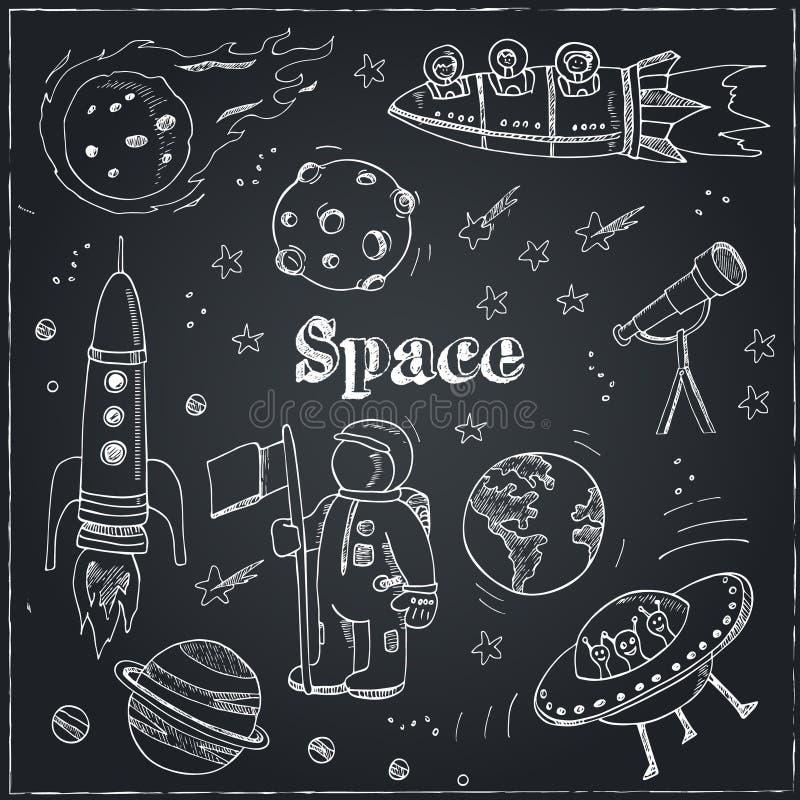 Astronomii ręki rysujący doodles Gwiazdy, planeta i przestrzeń transport używać dla, edukaci szkolnej i dokument dekoraci Wektor  ilustracji