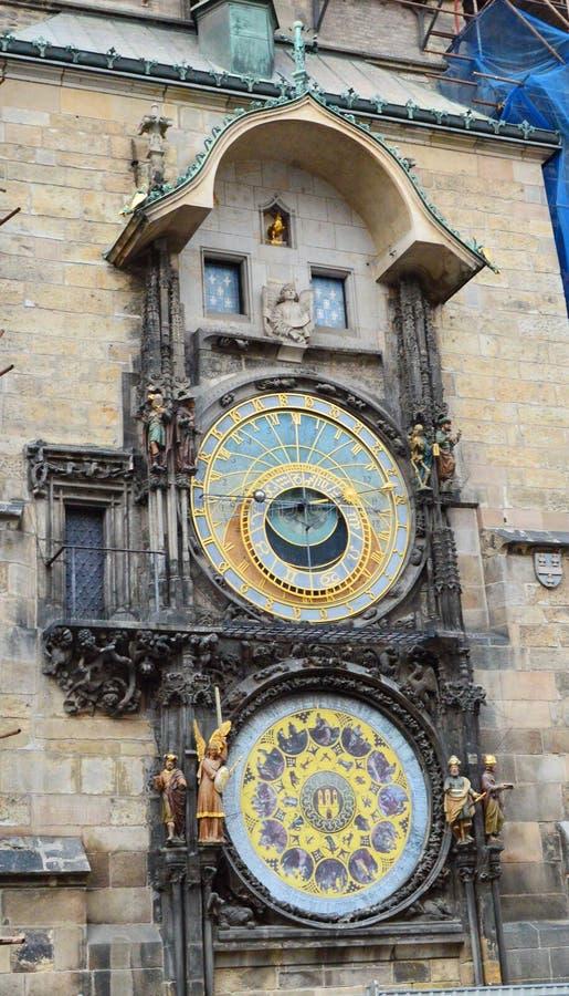 Astronomische klok in Praag, Tsjechische republiek stock afbeeldingen