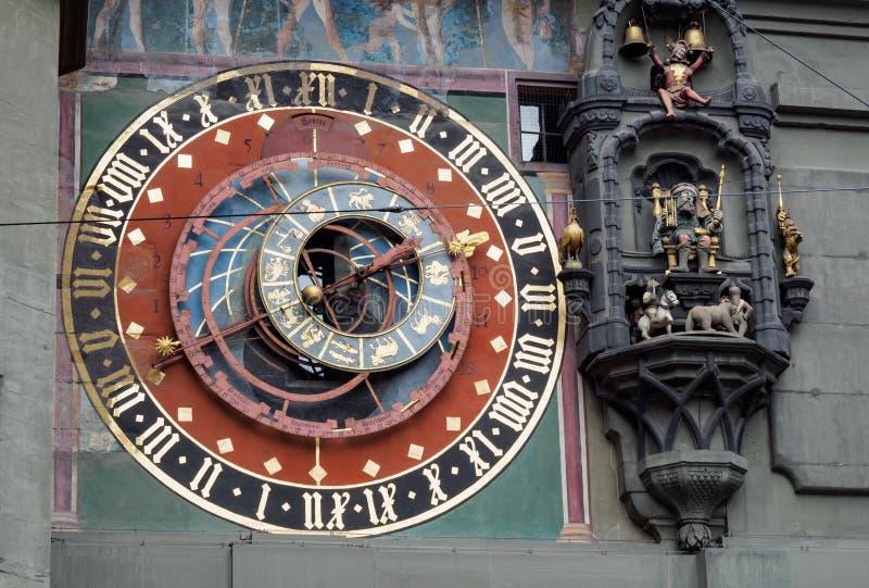 Astronomische Uhr an Bern-Marktplatz, die Schweiz stockbild