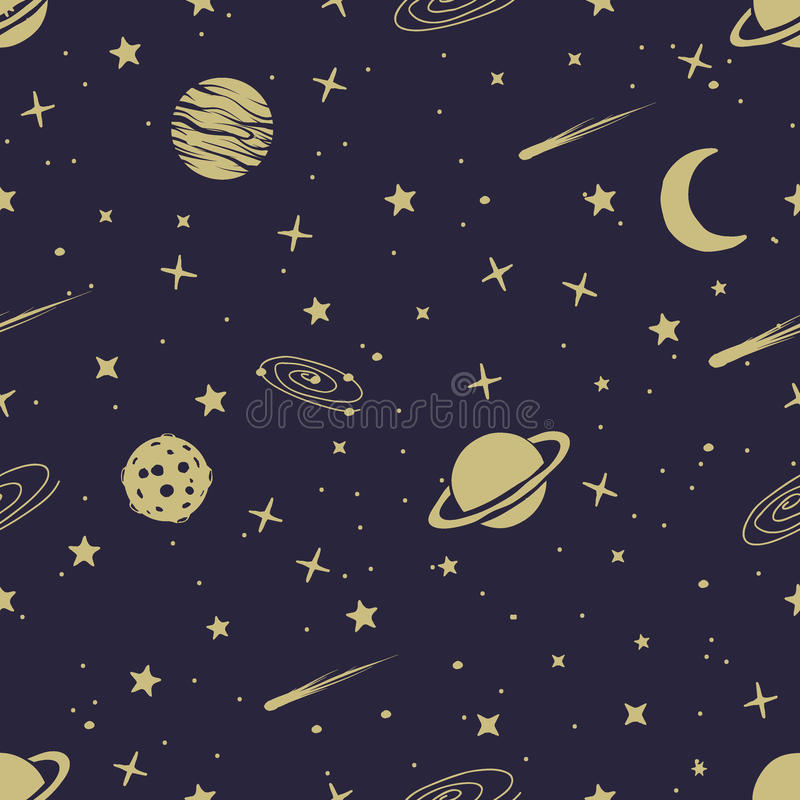 Astronomisches nahtloses Muster lizenzfreie abbildung