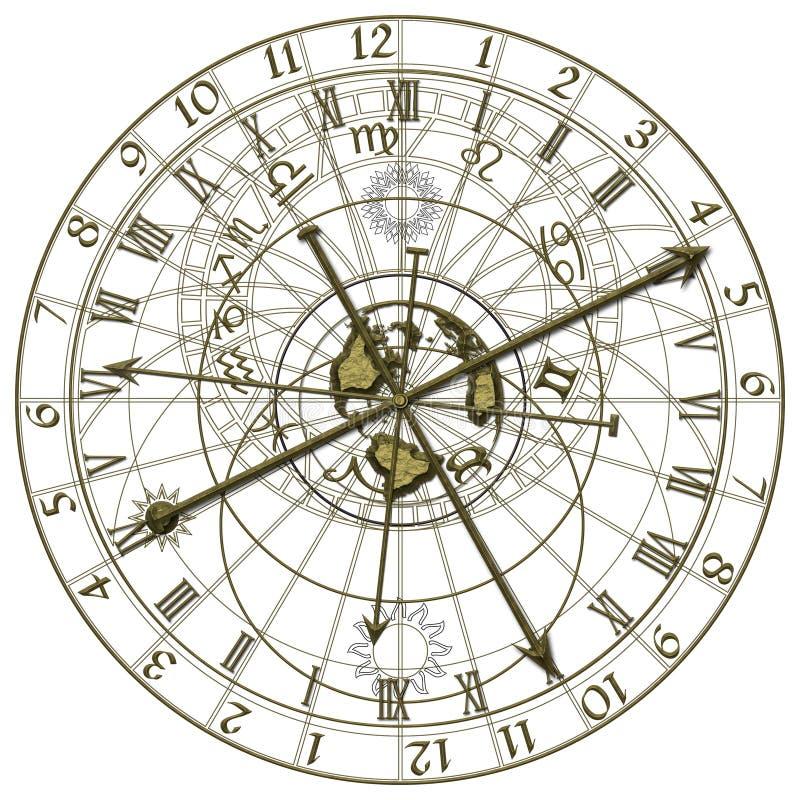 Astronomisk klocka för metall royaltyfri illustrationer