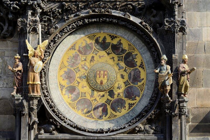 Astronomisk klocka Orloj i Prague Den äldsta arbetstiden i världen Den yttre visartavlakalendervisartavlan delas in i 365 sektore arkivfoton
