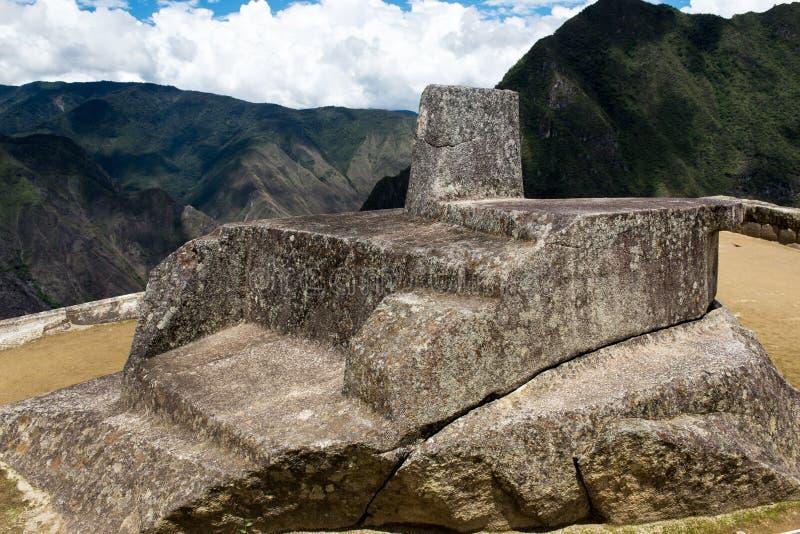 Astronomisk klocka på Machu Picchu Peru royaltyfri fotografi