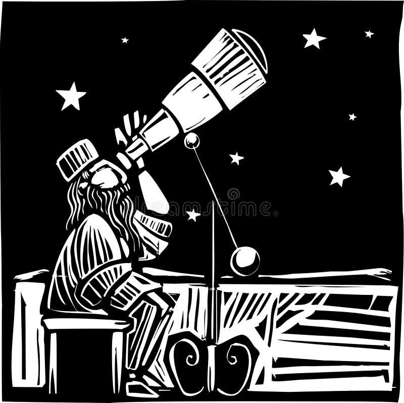 Astronomo di seduta illustrazione di stock