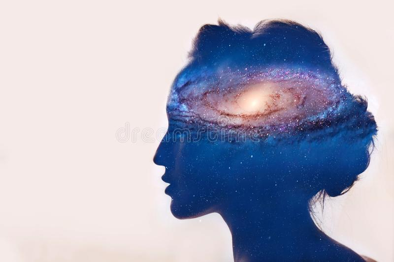 Astronomy and galaxy concept. Girl with galaxy in head stock illustration