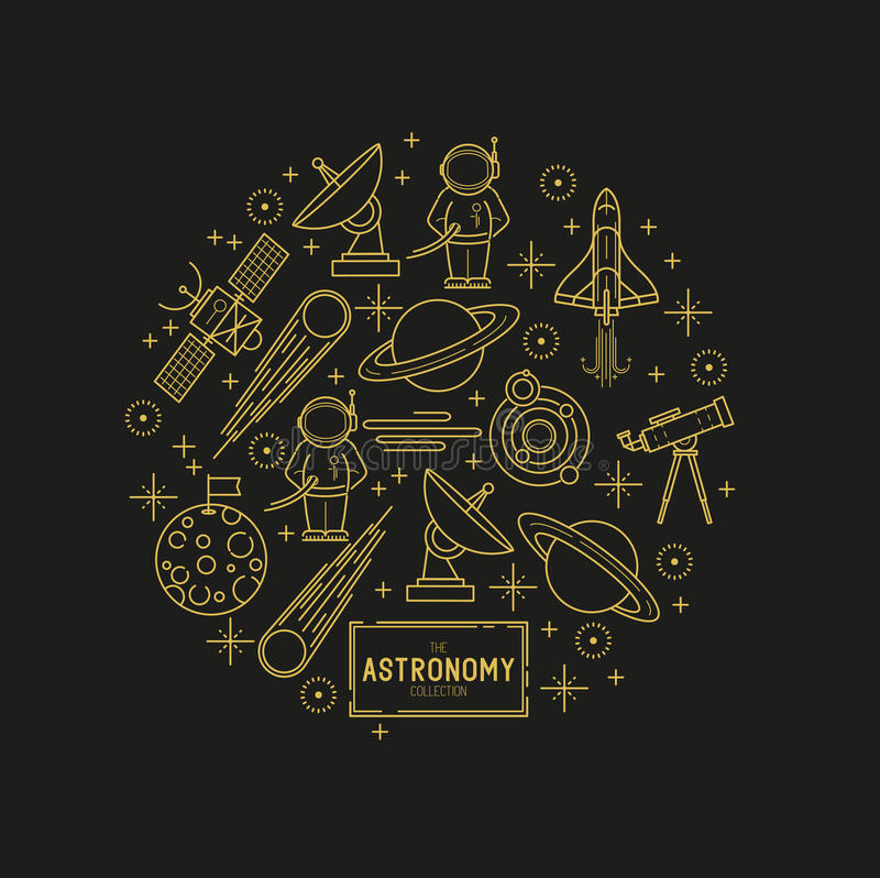 Astronomy Gold Vector Icon Set vector illustration