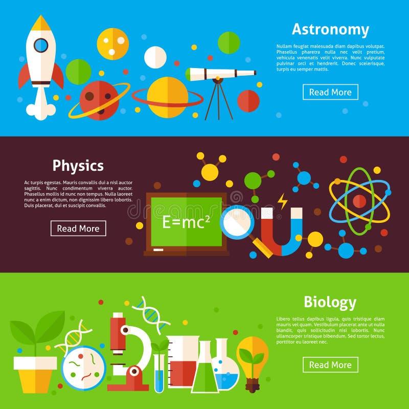 Astronomy Physics Biology Science Flat Horizontal Banners stock illustration