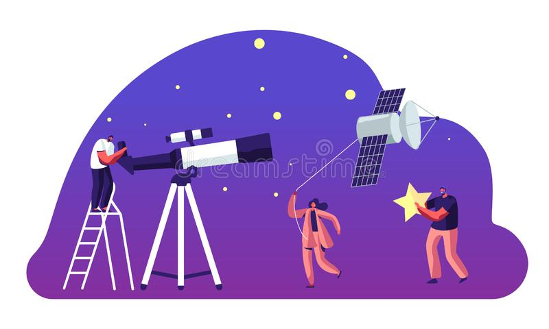 Astronomy Science, Character Watching on Space at Telescope, Woman Pull Sputnik as Kite, Studying, Cosmos Exploration, Scientific royalty free illustration
