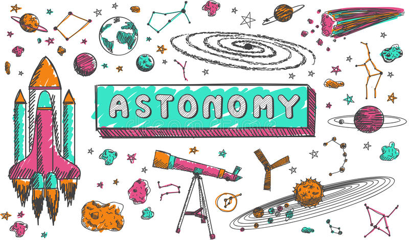 Astronomy Science Education Subject Doodle Icon Stock ...