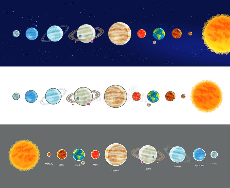 Astronomy, space, solar system infographics. Parade of planets, planetarium icon or symbol. Vector illustration. Astronomy, space, solar system infographics stock illustration