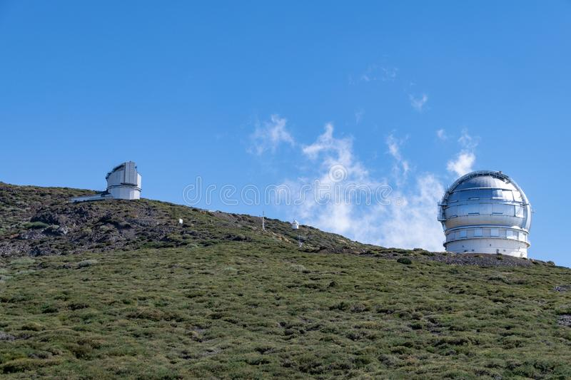Astronomy telescopes on the hillside at Roque de los Muchachos, La Palma, Canary Islands, Spain stock photography