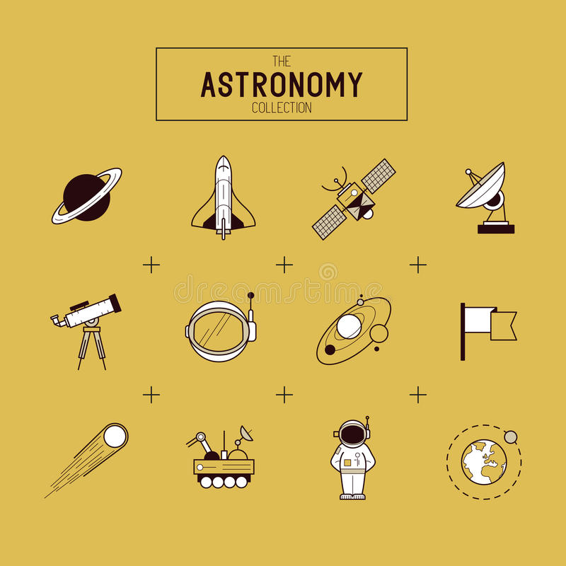 Astronomy Vector Icon Set stock illustration