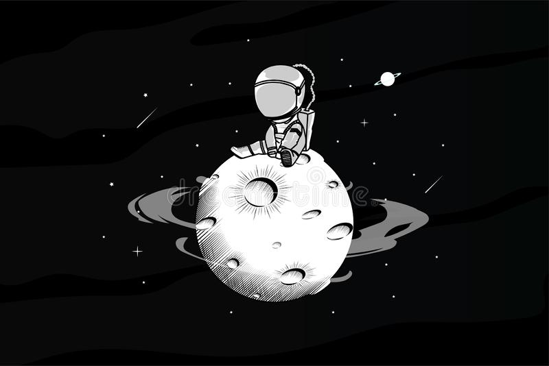 Astronout is alleen in ruimteillustratie vector illustratie
