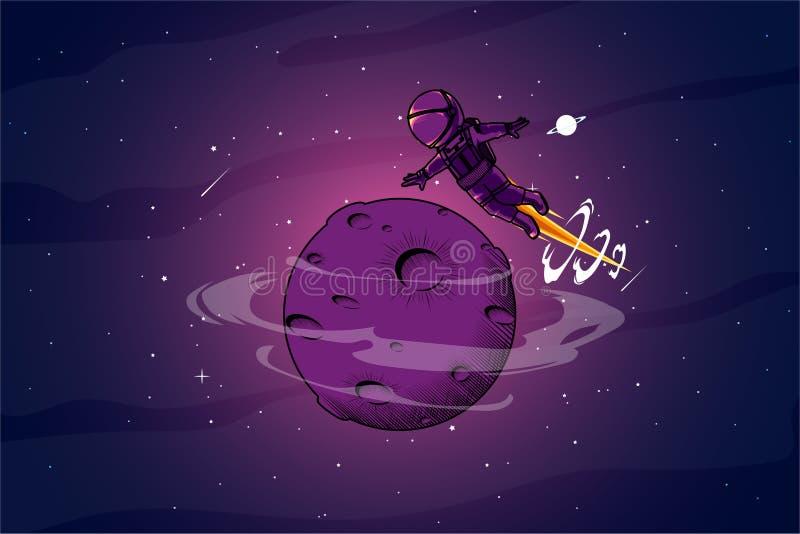 Astronout alrededor del ejemplo del espacio libre illustration