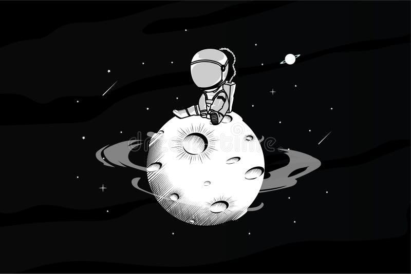 Astronout está sozinho na ilustração do espaço ilustração do vetor