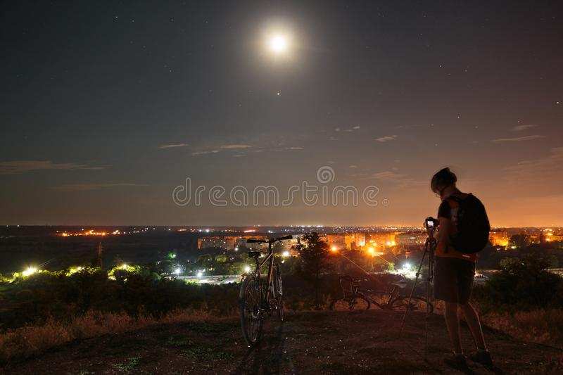 Astrophotographer doing his job royalty free stock photos