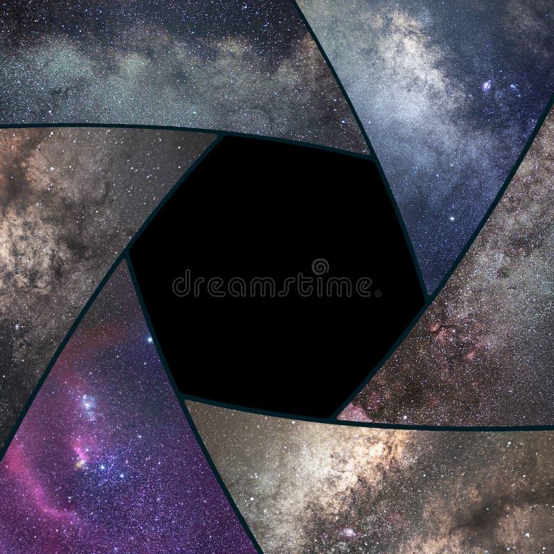 Astrophotographycollage Het Heelal van de blindcollage Ruimteastronomie stock afbeelding