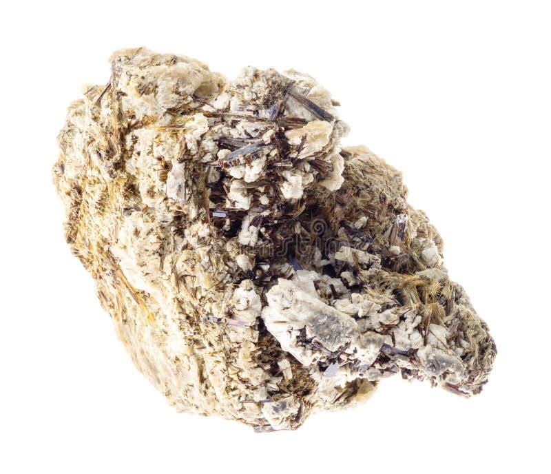 Astrophyllite dans la roche rugueuse de Natrolite sur le blanc images stock