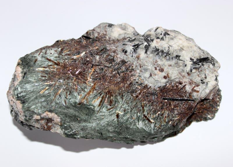 Astrophyllite gem semigem geode crystals geological mineral stock photo