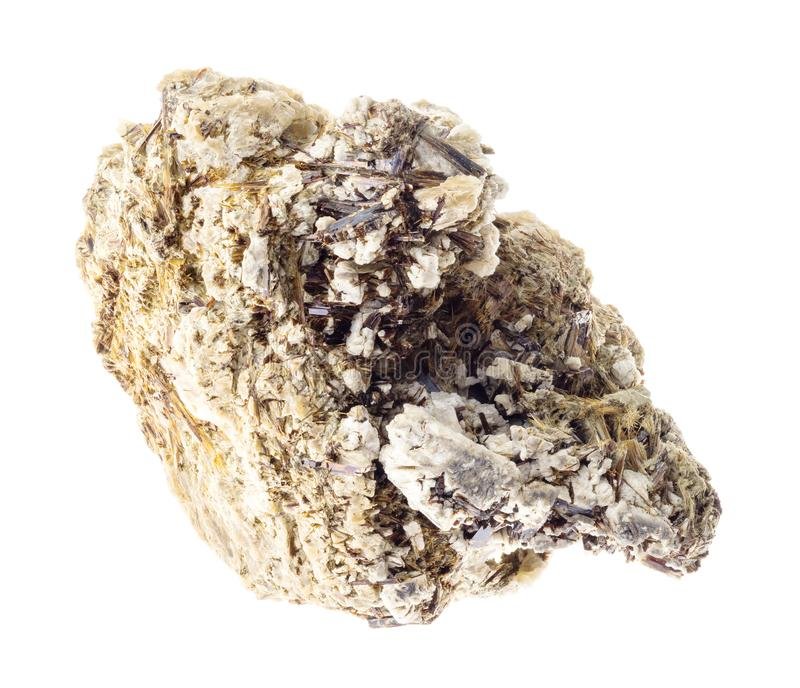 Astrophyllite in rough Natrolite rock on white stock images