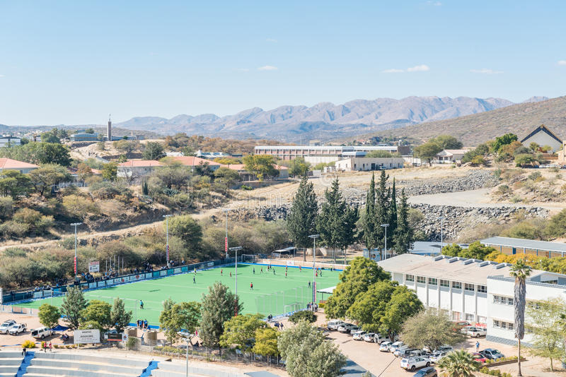Astroturf-Hockeyfeld von Highschool Windhoeks in Windhoek lizenzfreies stockbild