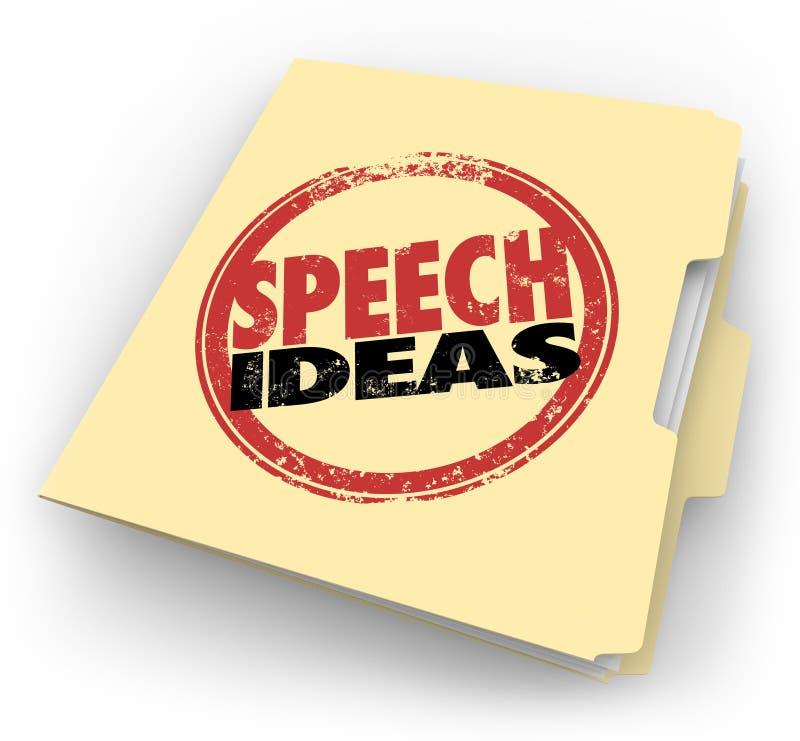 Astuces de conseil de prise de parole en public de dossier de Manille de timbre d'idées de la parole illustration de vecteur