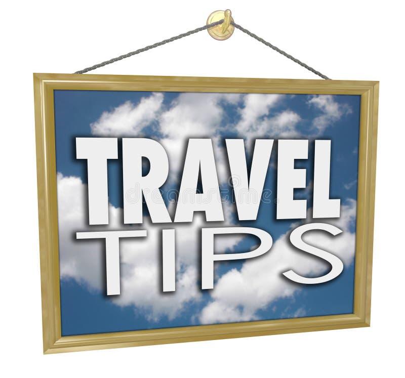 Astuces de voyage accrochant l'information utile de conseil d'agence de signe illustration de vecteur