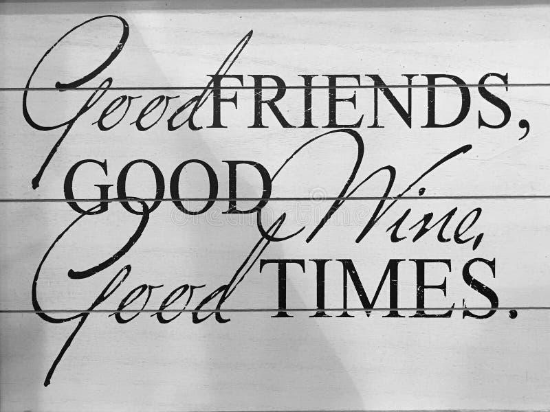 Astuces utiles au sujet des amis vin et périodes images stock