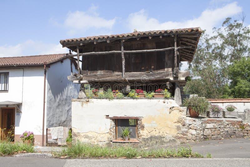 Asturian granary horreo detail, stock photography